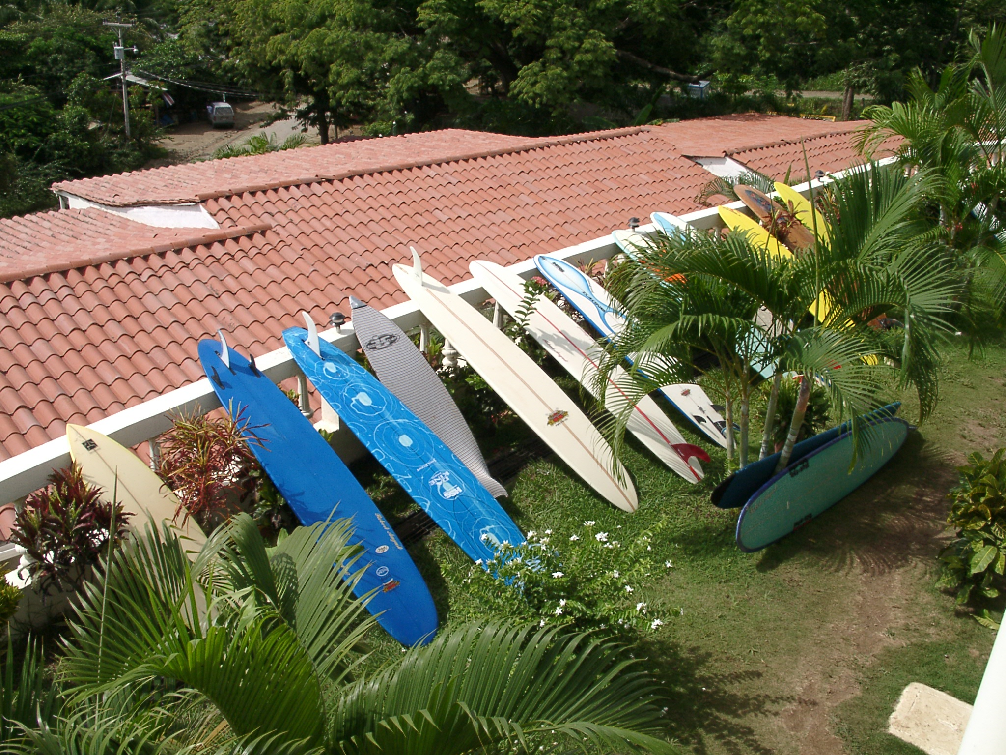 Just a few of the surfboards you can use while learning to surf in Tamarindo.